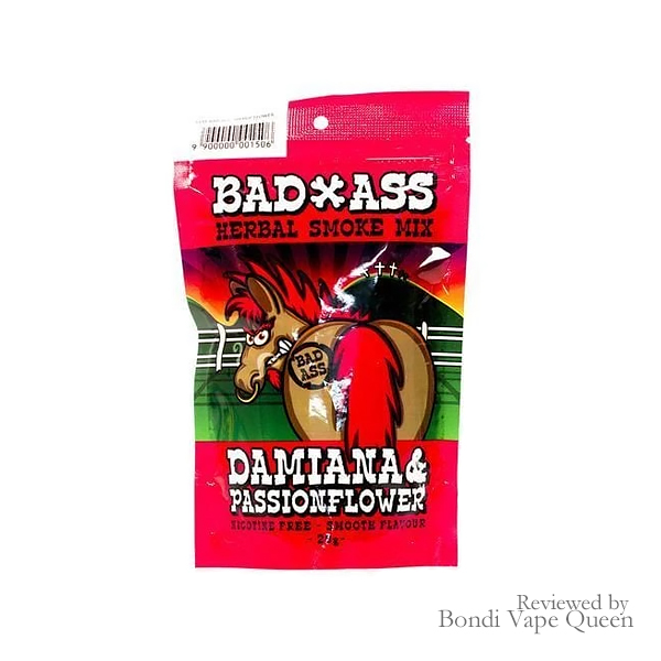 Bad Ass Damiana and Passionflower Herbal Smoking Mix 30g in red packaging