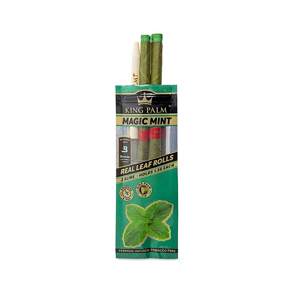 Open packaging of King Palm Mini Leaf Rolls (Magic Mint)