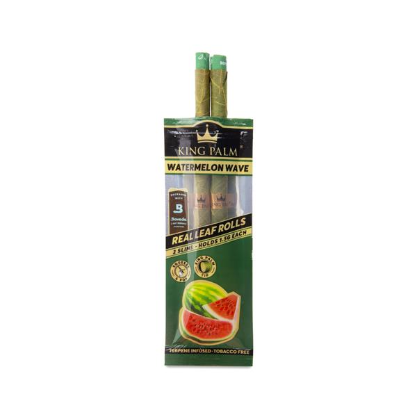 Open packaging of King Palm Mini Leaf Rolls (Watermelon Wave)