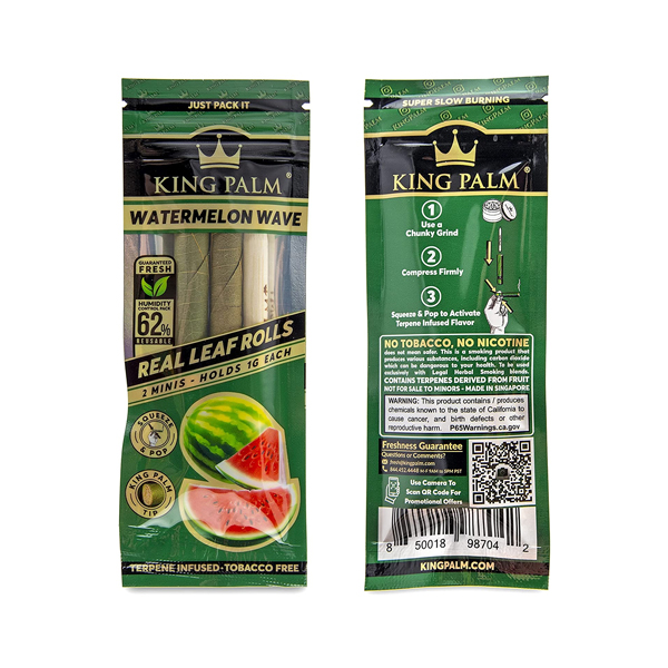 Front and back packaging of King Palm Mini Leaf Rolls (Watermelon Wave)