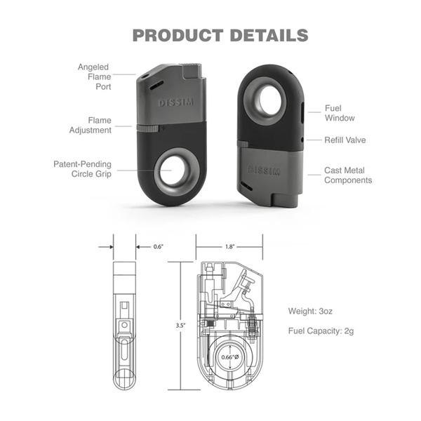 DISSIM Inverted Lighter specifications.