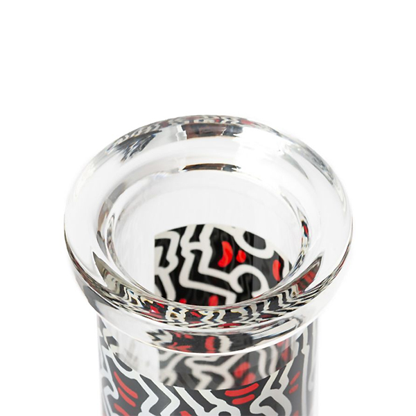 K.Haring Water Pipe mouthpiece with red and black print.