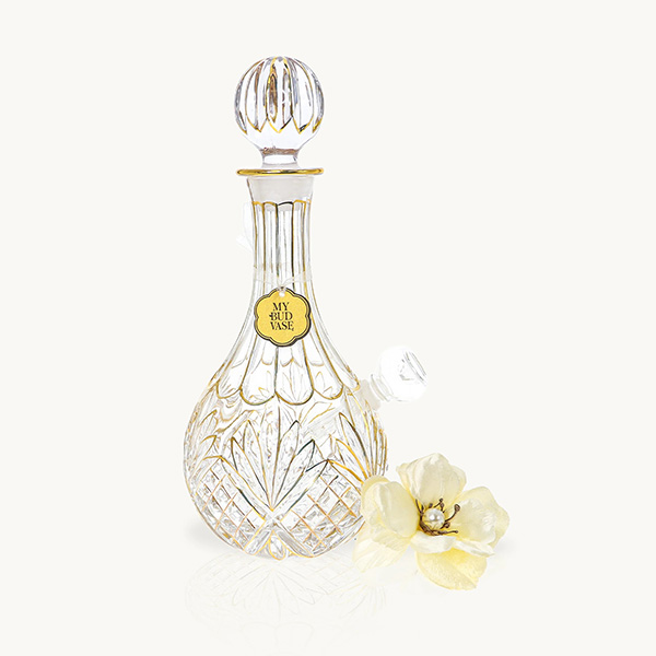 Thick textured glass decanter with hand painted gold detailling and pearl anemone flower poker.