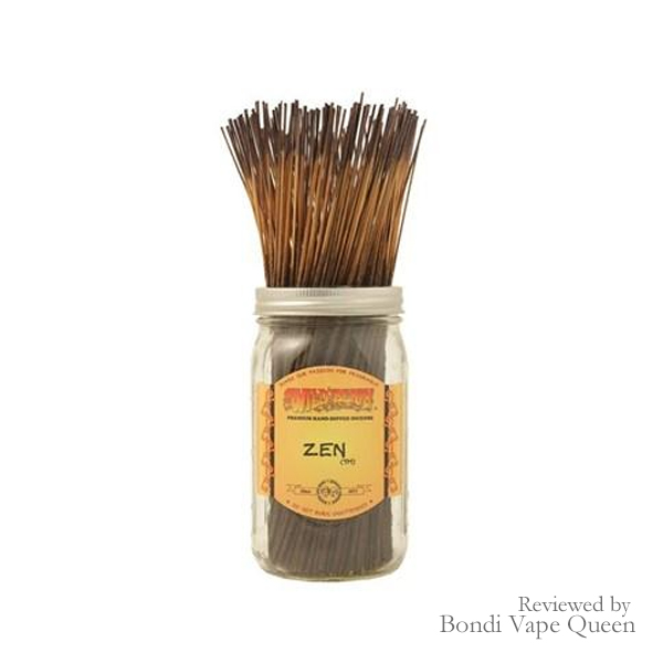 Pack of Zen-scented incense with dark brown stem.