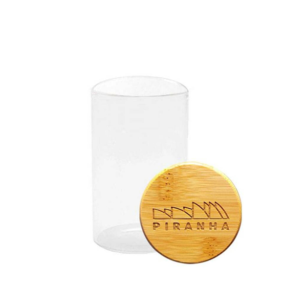 Bamboo lid with Piranha design