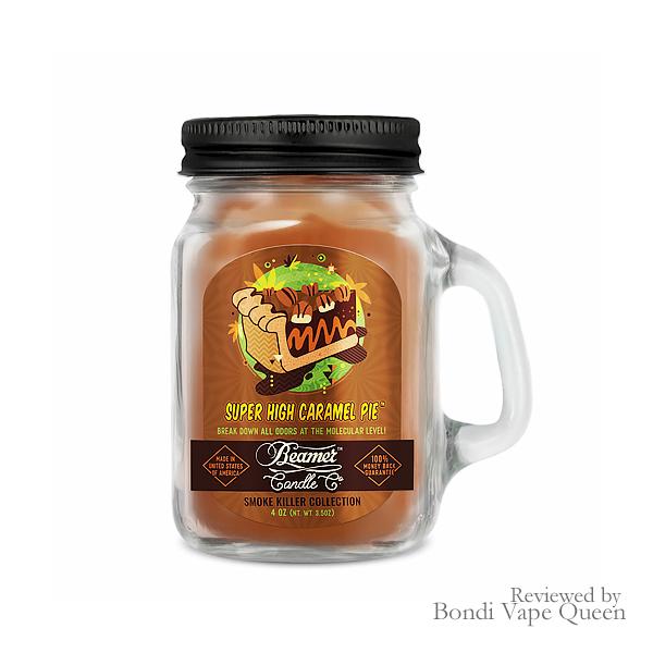 Beamer Smoke Killer Collection Mini Glass Jar Candle (4 ounces) in Super High Caramel Pie