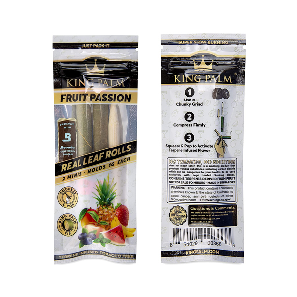 Front and back packaging of King Palm Mini Leaf Rolls in Fruit Passion