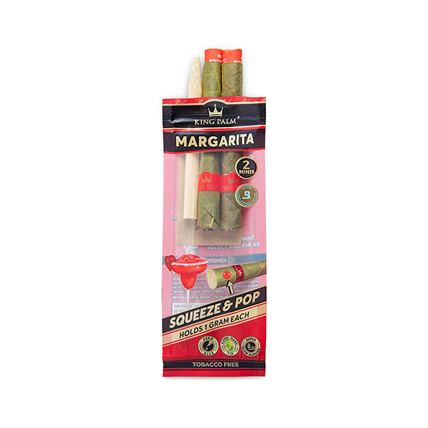King Palm Strawberry Margarita Hand Rolled Leaf 2 mini rolls pack with opened packaging